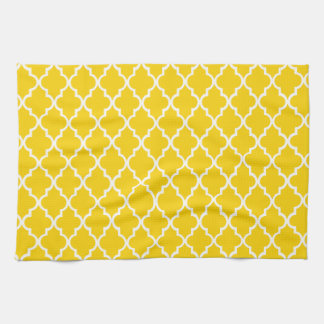Canary Yellow Maroccan Trellis - Quatrefoil Clover Kitchen Towel