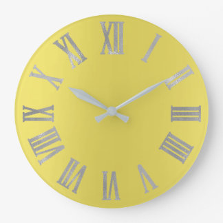 Canary Yellow Silver Gray  Metallic Roman Numers Large Clock
