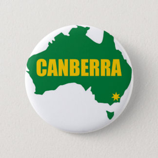 Canberra Green and Gold Map 2 Inch Round Button