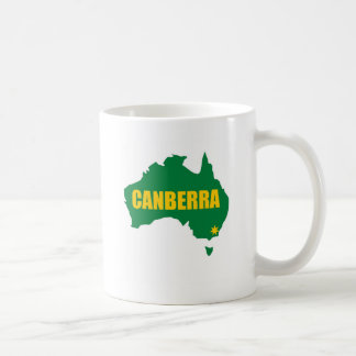 Canberra Green and Gold Map Classic White Coffee Mug