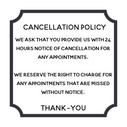 Cancellation policy poster for salon or spa