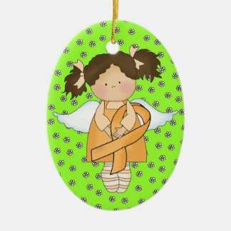Cancer Awareness Green Ribbon  - SRF Ceramic Oval Ornament