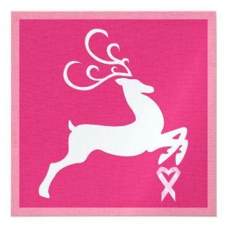 "Cancer Awareness Pink Ribbon Christmas - Holiday 5.25"" Square Invitation Card"