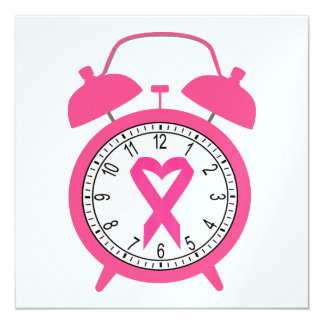 "Cancer Awareness - Pink Ribbon 5.25"" Square Invitation Card"