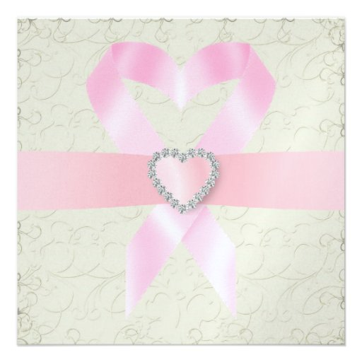 Cancer Awareness - Pink Ribbon Personalized Announcements