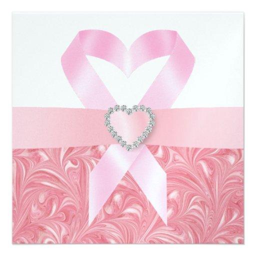 Cancer Awareness - Pink Ribbon Custom Announcements