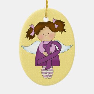Cancer Awareness Purple Ribbon  - SRF Ceramic Oval Ornament