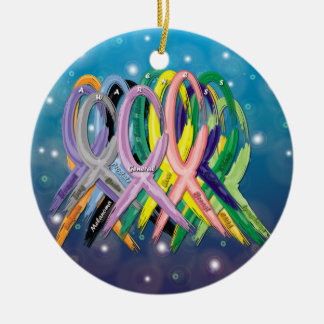 Cancer Awareness Ribbons Round Ceramic Ornament