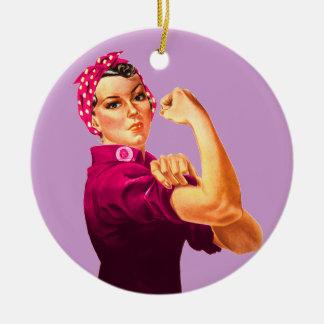 Cancer Awareness Rosie The Riveter Round Ceramic Ornament