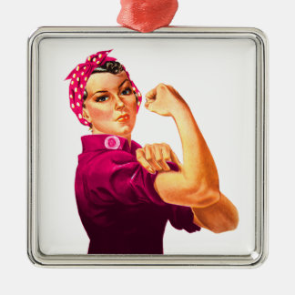 Cancer Awareness Rosie The Riveter Silver-Colored Square Ornament