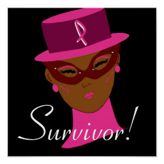 Cancer Awareness Think Pink Ribbon Survivor  I Poster