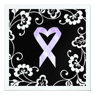 "Cancer Awareness - White Ribbon 5.25"" Square Invitation Card"