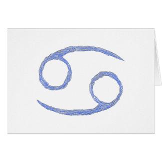 Cancer. Cancerian Zodiac Astrological Sign. Blue Card