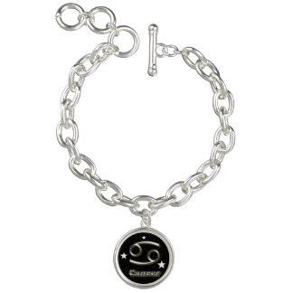 Cancer chrome symbol charm bracelet