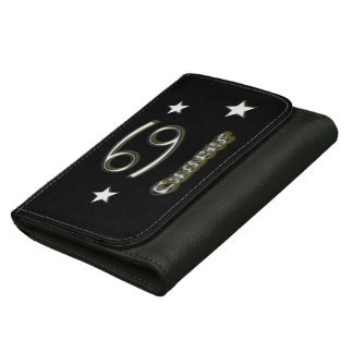 Cancer chrome symbol leather wallet