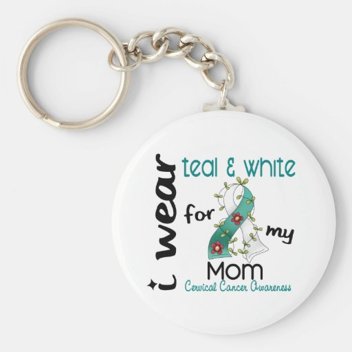 Cancer du col de l'utérus je porte Teal et le blan Porte-clef