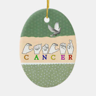 CANCER FINGERSPELLED ASL NAME ZODIAC SIGN CERAMIC ORNAMENT