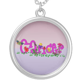 Cancer Flowers Round Pendant Necklace