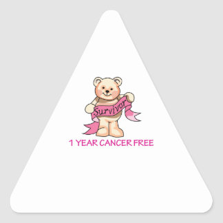CANCER FREE BEAR TRIANGLE STICKERS