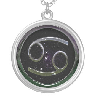 Cancer Glass Round Pendant Necklace