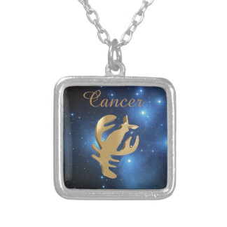 Cancer golden sign silver plated necklace