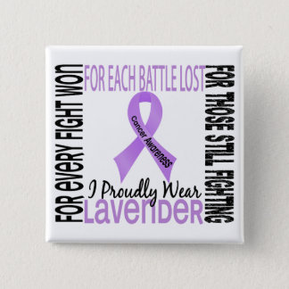 Cancer I Proudly Wear Lavender 2 2 Inch Square Button