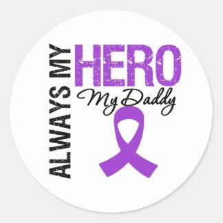 Cancer pancréatique toujours mon héros mon papa sticker rond