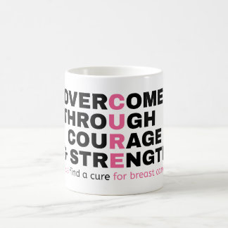Cancer quote pink typography let's find a cure coffee mug
