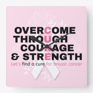 Cancer quote pink typography let's find a cure square wall clock