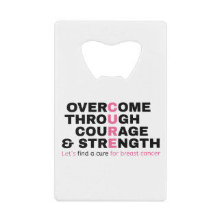 Cancer quote pink typography let's find a cure wallet bottle opener