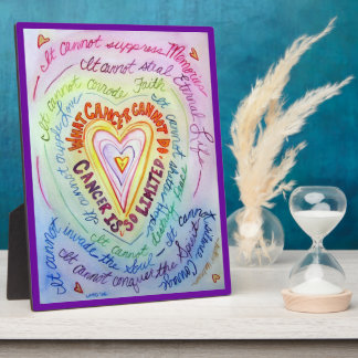 Cancer Rainbow Heart Art Painting Plaque