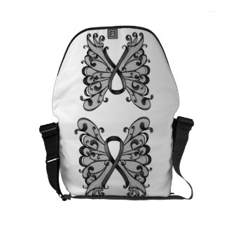 Cancer Ribbon Black with Butterfly Wings, Melanoma Courier Bags