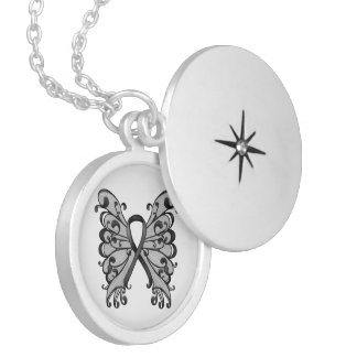 Cancer Ribbon Black with Butterfly Wings Round Locket Necklace