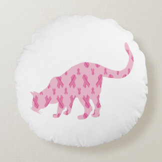 Cancer-Ribbon-Cat Round Pillow