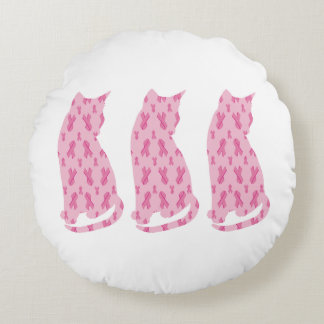 Cancer-Ribbon-CATS Round Pillow