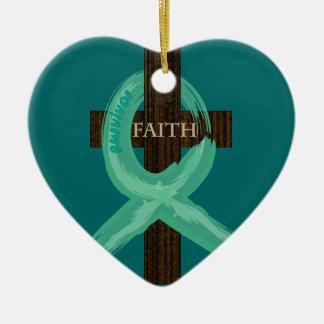 Cancer Ribbon Celebrates Faith & Remission Ceramic Heart Ornament