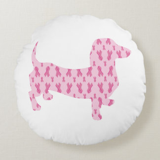Cancer-Ribbon-Doxie Round Pillow