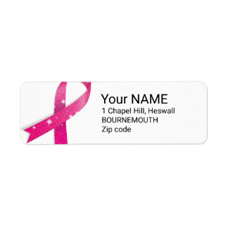Cancer ribbon quote dedicated to cancer fighters return address label