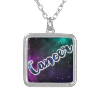 Cancer Silver Square Necklace