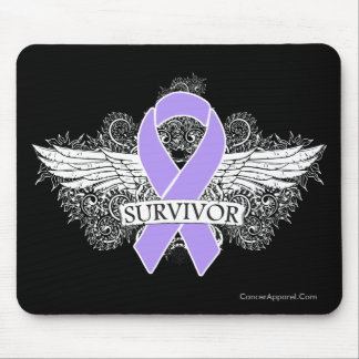Cancer Winged SURVIVOR Ribbon Mouse Pad