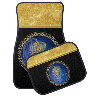 Cancer Zodiac Astrology gold foil with black. Car Mat
