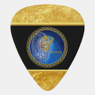 Cancer Zodiac Astrology gold foil with black. Guitar Pick