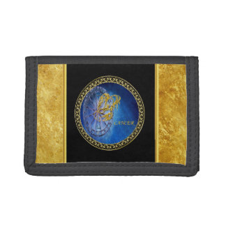 Cancer Zodiac Astrology gold foil with black. Trifold Wallet