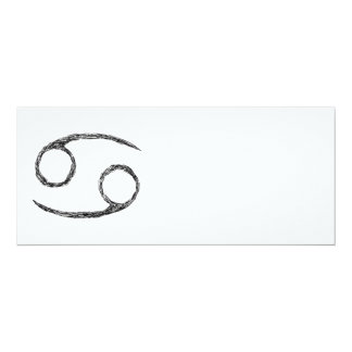 "Cancer. Zodiac Astrology Sign. Black. 4"" X 9.25"" Invitation Card"
