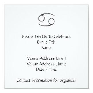 "Cancer. Zodiac Astrology Sign. Black. 5.25"" Square Invitation Card"