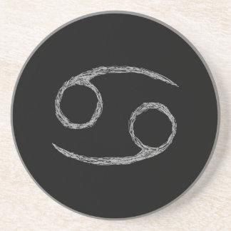 Cancer. Zodiac Astrology Sign. Black. Beverage Coaster