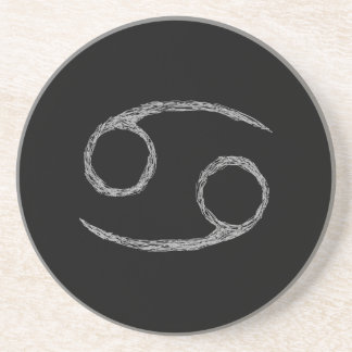 Cancer. Zodiac Astrology Sign. Black. Drink Coasters