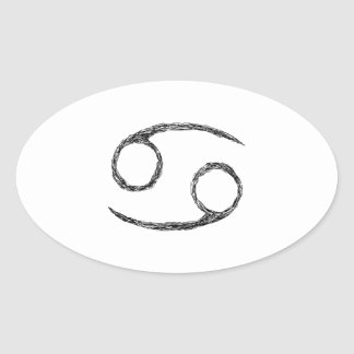 Cancer Zodiac Astrology Sign Oval Stickers