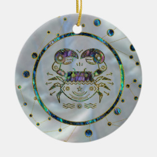 Cancer Zodiac Gold Abalone on Constellation Ceramic Ornament