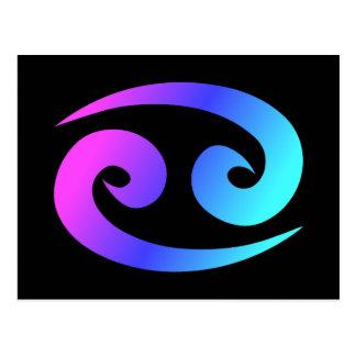 Cancer Zodiac Sign Pink Blue Aqua Postcard